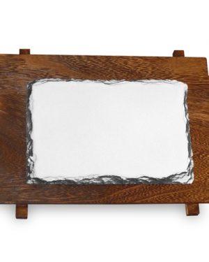 Žulový foto kámen na dřevěném podkladu 110×160 mm