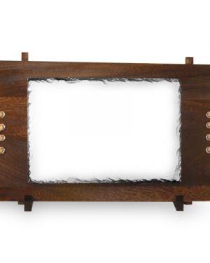 Žulový foto kámen na dřevěném podkladu 170×250 mm